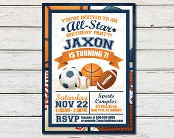 Sports Printable Birthday Invitation - DIY - PDF & JPG Files only