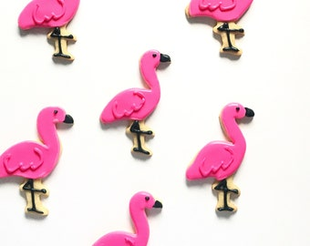 Flamingo Sugar Cookies, Pink Flamingos, Decorated Cookies, Cookie Gift, Birthday Party, Baby Shower, Hot Mama, Wedding, Bridal Shower Cookie