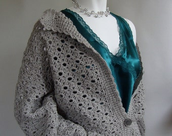 Crochet Cardigan, Gray Cardigan, Wool Cardigan, Cardigan Women, Crocheted Cardigans, Cardigan Sweaters, Gift for Her, Available in XS/S