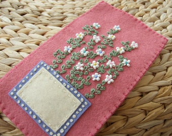 Pretty Pink Felt Hand Embroidered Glasses Case