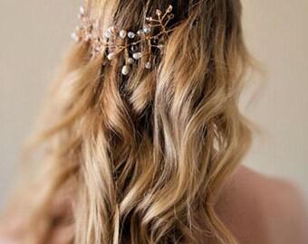 Bridal hair crown, wedding hair vine, Swarovski crystal and freswater pearls