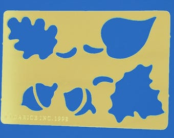 BRASS STENCIL: leaves and acorns 80 * 55mm
