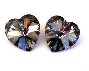 14mm Crystal Silver Night heart pendants, grey Swarovski crystal heart pendants, Qty 2