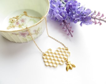 Honey Bee Necklace, Honeycomb Necklace, Save The Bees Necklace, Bumble Bee Charm Necklace
