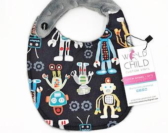 Robot Baby Bib, Minky Baby Bib, Robot Drool Bib, Robots Baby Bib, Robots Bib, Robot Bib, Baby Shower Gifts, New Baby