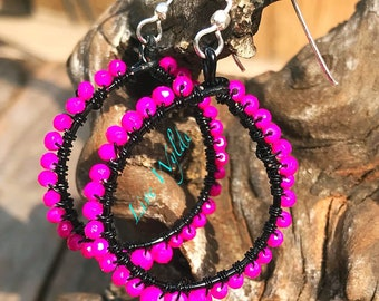 Gorgeous Black and Hot Pink Glass Hoop Earrings!