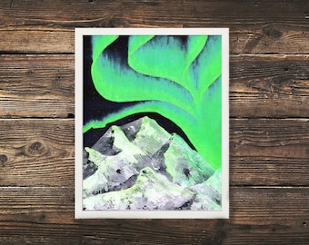 Northern Lights Prints, Aurora, Mountain Print, Mountain Painting, Northern Lights, Aurora Painting, Acrylic Painting, Glacier Print, North