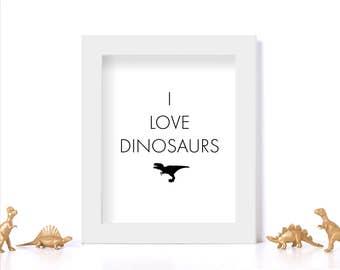 Funny Print Dinosaur Print Digital Download Black and White Print Funny Dinosaur Art Office Decor I Love Dinosaurs Classroom Decor Wall Art