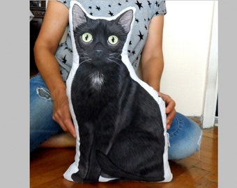 Custom Pet Pillow,  Black Cat Pillow, Whole Body XL Pet Pillow, Personalized gift for pet lovers, Dog pillow, Cat pillow, Cat shaped pillow