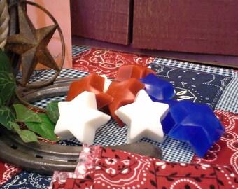 Patriotic Red White & Blue Fruit Scented Mini Star Glycerin Soap Set, Patriotic Party Favor, Star Soap, Star Soap Favor, Patriotic Gift
