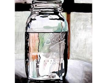 print - Sylvias Ball Jar 1 - 8 1/2 x 11 print of original painting