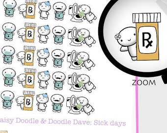 Sick day planner stickers Prescription, Doctor appointment reminders