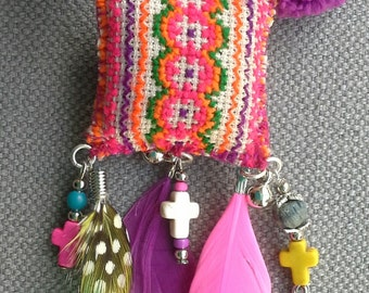 Necklace/pendant textile multicolor, Bohemian spirit