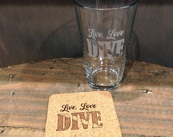 Live, Love, Dive Beer Pint and Coaster set