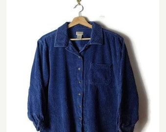 ON SALE Blue Corduroy Long Sleeve Blouse /Shirt from 90's/L.L.Bean