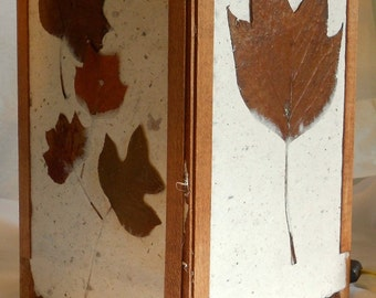 Large Modern Natural Hand Made Paper Light with Chocolate Brown Tulip Leaves Series 150
