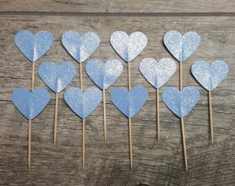 12 Light Blue Heart Cupcake Toppers