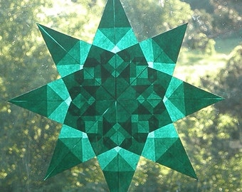 Green Window Star  - Intricately Folded Paper Suncatcher for Year Round or Holidays - Christmas Yule Winter Solstice