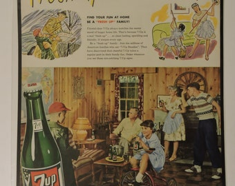 Seven Up Mounted 1947 Print Ad Colorful VTG