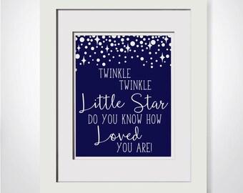 Twinkle Twinkle Little Star Do You Know How Loved You Are Navy Nursery Decor DIY Nursery Decor For Boy Nautical Nursery Printable For Him