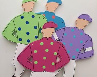 Jockey door hanger, Derby wreath, Kentucky Derby decoration, Spring horse racing wreath, Jockey sign, Derby party decorations, Racing silks