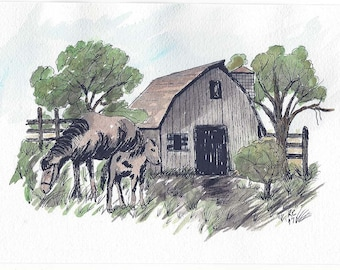 Original Pen and Ink Illustration with Watercolor Wash - Weathered Barn with Mare and Colt in Barnyard