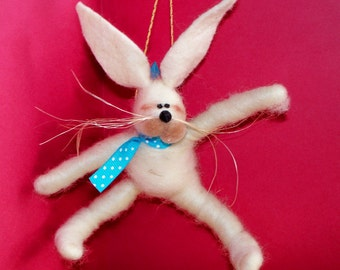 Wool Easter Bunny with Bow