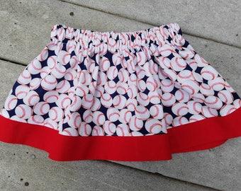 Girl's Elastic Waisted Skirt / Baseball skirt / sports skirt / team spirit / little league