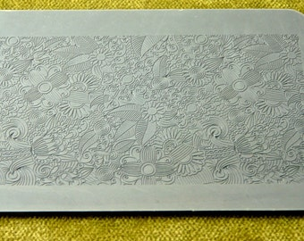 Rollable FLOWER PARTY  Fineline Floral and Leave Texture Tile Stamp  RTT130