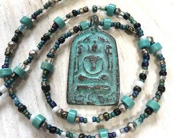 Buddha Necklace, Religious, Ohm, Prayer Jewelry