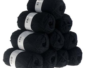 10 x 50g knitted Yarn eko fil, #012 Black