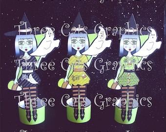 Adelle the Gooseberry Green Witch 3 Halloween Paper Dolls or Decorations Digital Download - PDF