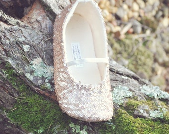 Rose Gold Sequined Ballet Slippers - Flower Girl Shoes - Baby Shoes - Toddler Girl Shoes - Christening - Baptism- Vintage Chic  - Arabella
