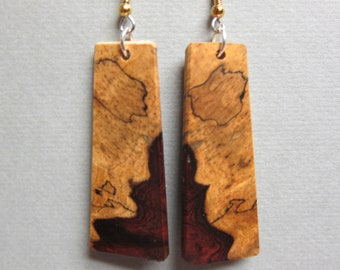 Khamphi Rosewood long Rectangle Drop Exotic Wood Earrings repurposed Handcrafted
