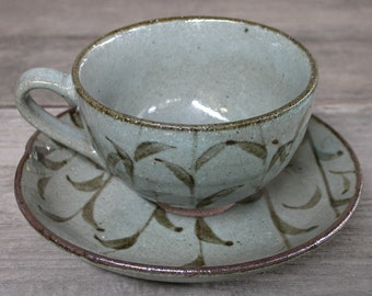 Handmade Ceramics, Japanese Ceramics, Ceramic Cup and Saucer, Coffee Cup, Hand Painted, Gray Cup, Serving Cup, Gift, Made In Japan.
