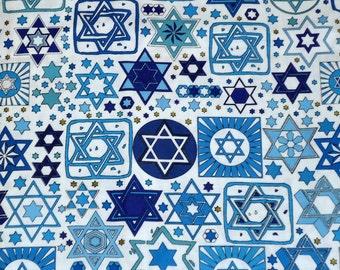 Tossed Stars Jewish Fabric on White