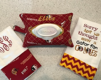 FSU Baby Wipes Case Burp Cloth Combo