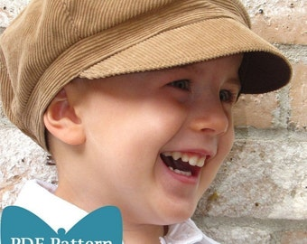 Newsboy Hat Sewing Pattern - Reversible Unisex Infant and Child Sizes - PDF