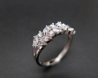 Marquise Diamond Wedding Ring in 14K White Gold