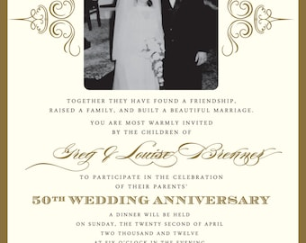 Golden 50th Anniversary Party Invitation