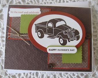 Handmade Greeting Card: Happy Father's Day (Pickup Truck/Hit the Road Theme)