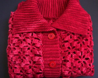 Red Cardigan, Crochet Cardigan, Merino Cardigan, Cardigan, Red Cardigans, Crocheted Cardigans, Women's Cardigan Sweaters, Available in  M/L
