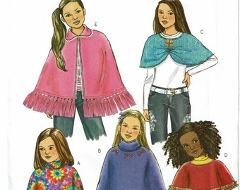 Butterick Pattern 4846 Children's/Girls' Poncho and Capelet UNCUT