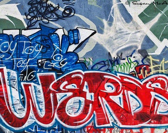 Graffiti Art Print, Werds, Graffiti Photo, Drawing, Graffiti Print, Street Art, Contemporary, Modern, Edgy Art, Urban Art, Blue, Red