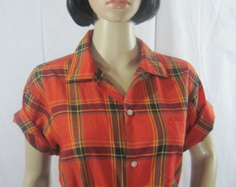 1960's MADRAS PLAID BLOUSE Shirt By Westley orange-red Size Large
