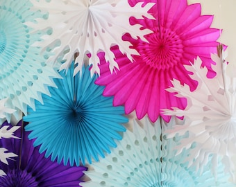 Birthday Decorations- Tissue Paper Fans, snowflakes, winter theme, ice skating, party decorations