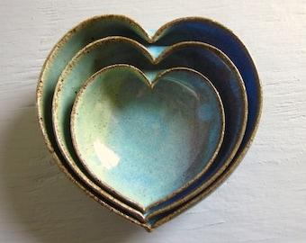 3 nesting ceramic heart bowls -  4 inches handmade - wheel thrown