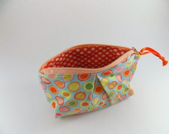 Citrus Dots Zippered Pleated Pouch Cotton Fabric, Travel Pouch, Polka Dot Pouch, Makeup Bag, Snack Bag