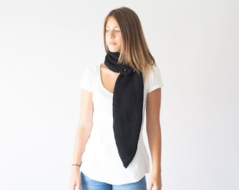 Sales Knit Black scarf knit neckwarmer with three buttons cowl knit collar long scarf button neck warmer neck warmer
