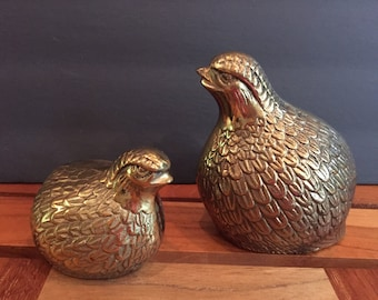 pair of brass quail birds / Mid Century